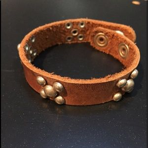 Leather bracelet with metal studs